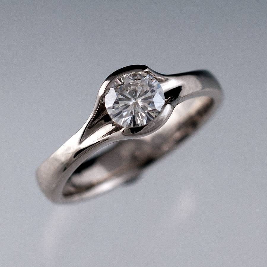 Round Moissanite Fold Engagement Ring Semi Bezel Solitaire Throughout Bezel Wedding Rings (View 13 of 15)