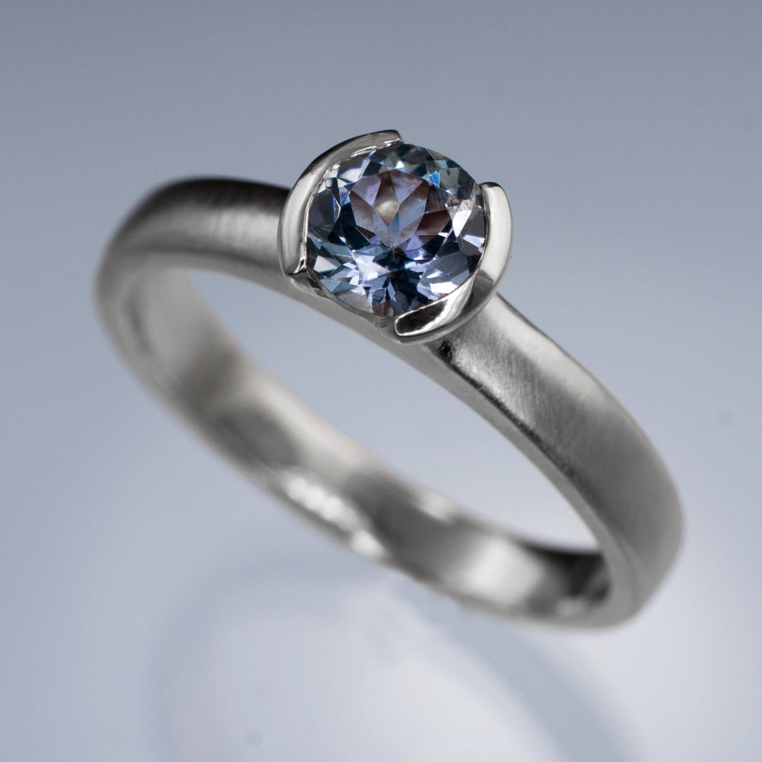 Round Tanzanite Half Bezel Solitaire Engagement Ring In Regarding Tanzanite Engagement (View 5 of 15)