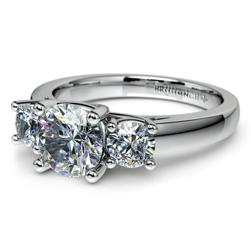 Round Three Diamond Preset Engagement Ring In Platinum (1 Ctw) With Regard To Preset Engagement Rings (Gallery 6 of 15)