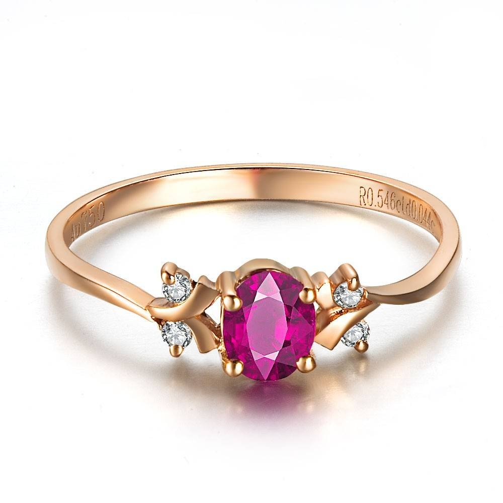 Ruby And Diamond Engagement Ring On 18K Rose Gold – Jewelocean Within Gold And Ruby Engagement Rings (View 10 of 15)