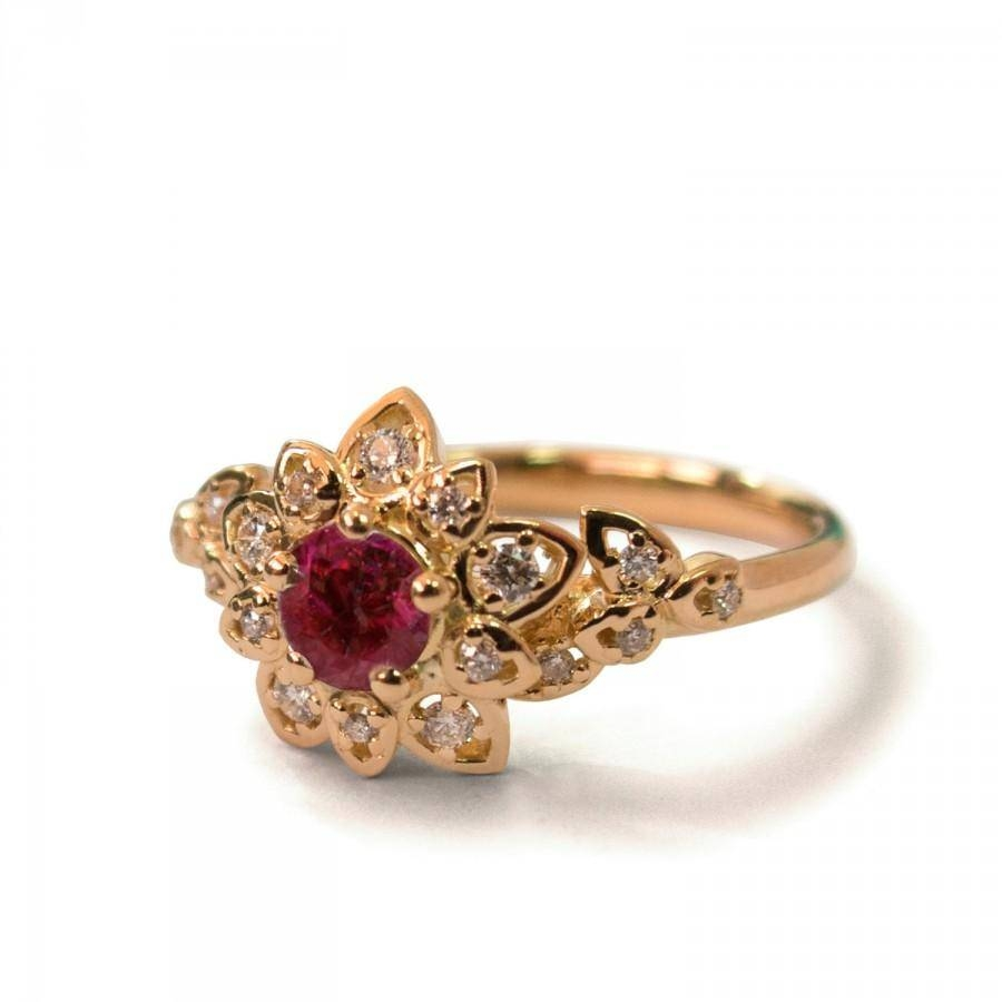 Ruby Art Deco Petal Engagement Ring – 14K Rose Gold And Ruby Inside Gold And Ruby Engagement Rings (View 11 of 15)