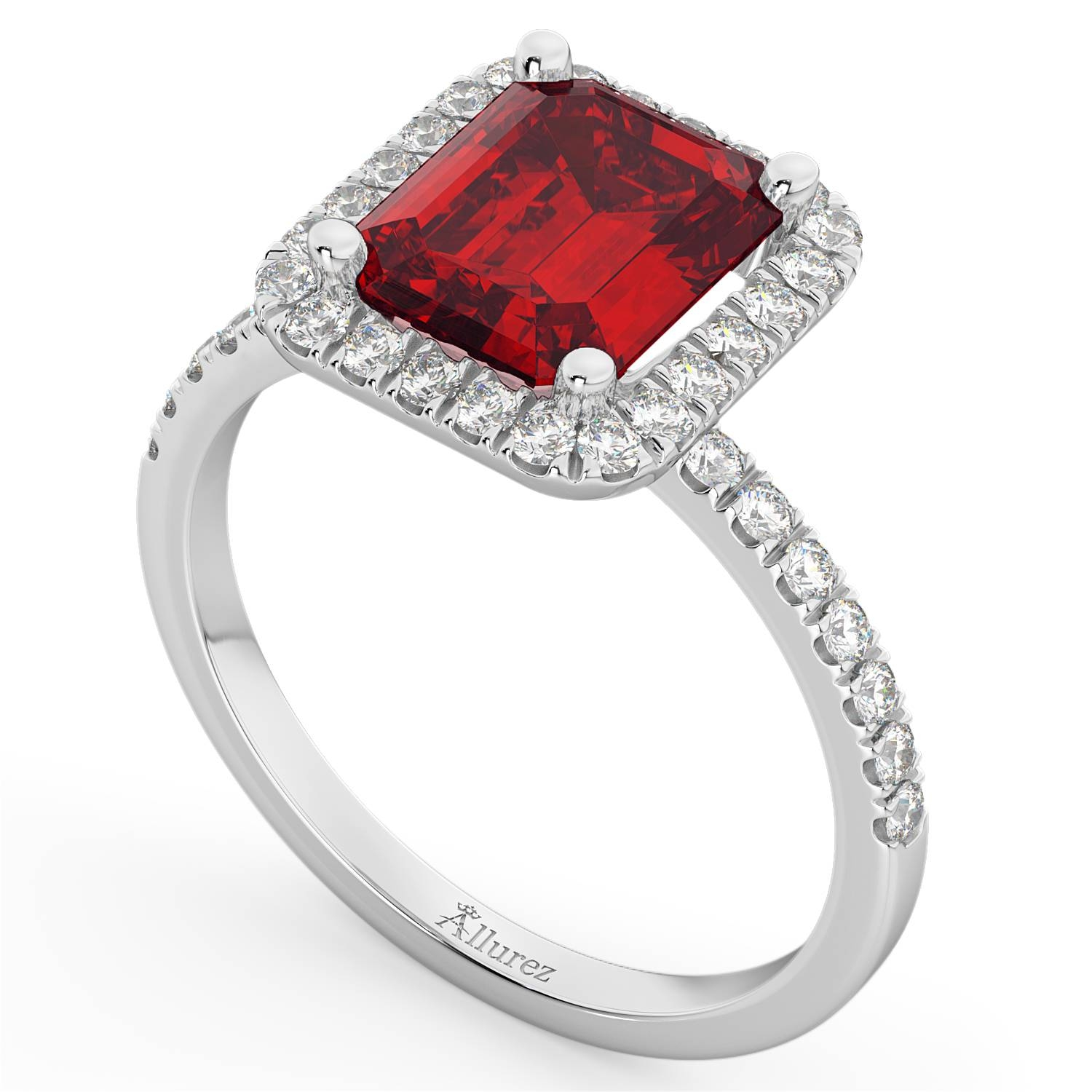 Ruby & Diamond Engagement Ring 14K White Gold (3.32Ct) – Allurez Intended For Ruby Diamond Wedding Rings (Gallery 13 of 15)
