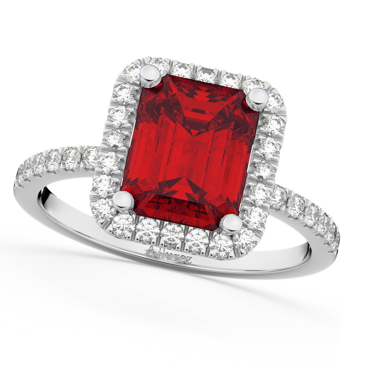 Ruby & Diamond Engagement Ring 14K White Gold (3.32Ct) – Allurez With Ruby And Diamond Engagement Rings (Gallery 3 of 15)