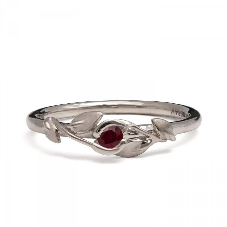 Ruby Flower Ring – 14K White Gold And Ruby Engagement, Ruby Leaves Throughout White Gold Ruby Wedding Rings (Gallery 11 of 15)