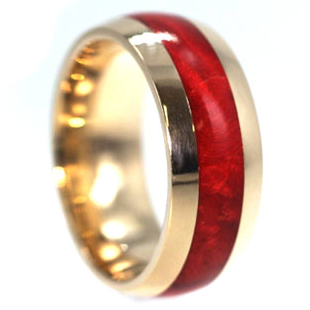 Ruby Redwood Ring, Wood Inlay On 18K Yellow Gold Band Intended For Men's Wedding Bands Wood Inlay (View 7 of 15)