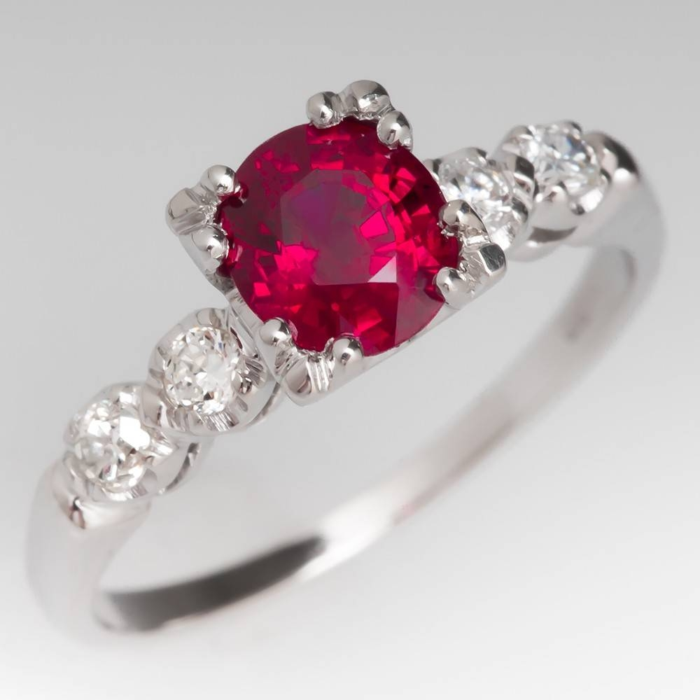 Ruby Rings – July Birthstone | Eragem In Engagement Rings Ruby And Diamond (View 11 of 15)