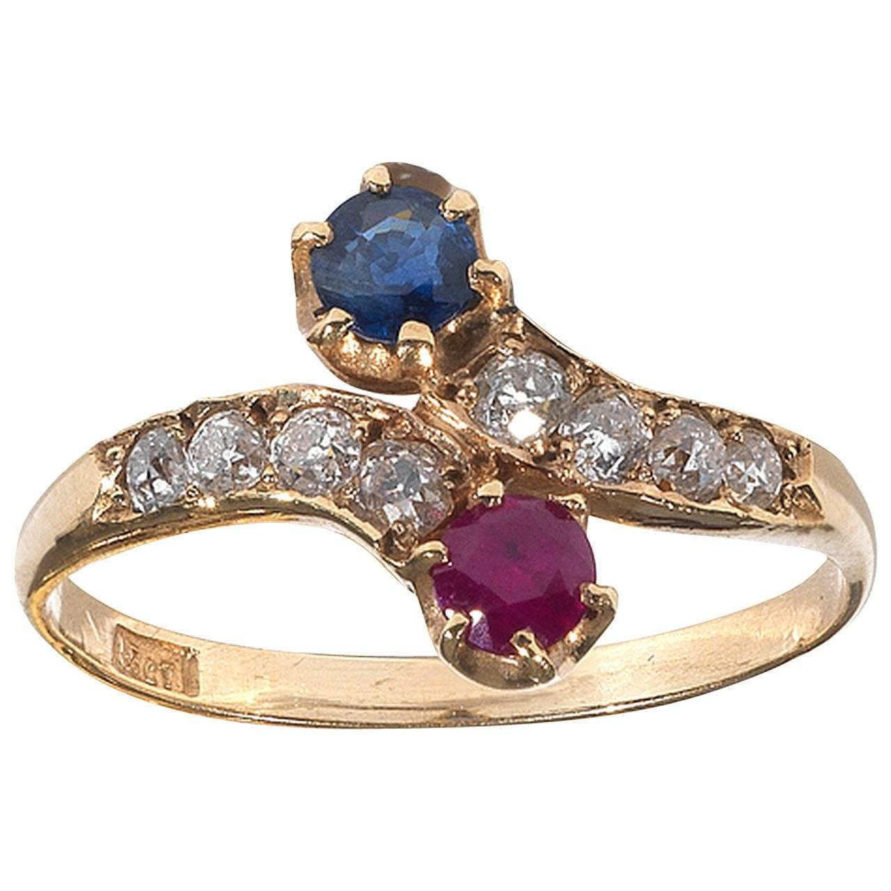 Ruby Sapphire Diamond Yellow Gold Bypass Ring For Sale At 1Stdibs Intended For Engagement Rings Ruby And Diamond (Gallery 15 of 15)