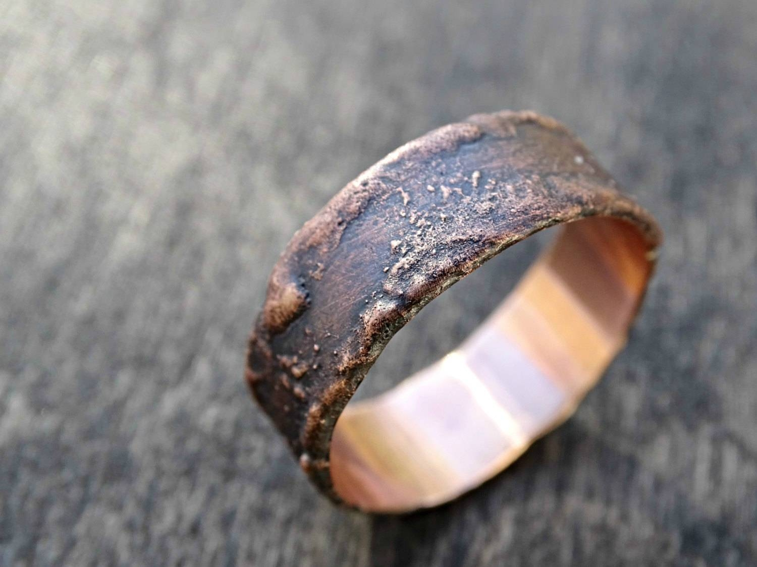 Rustic Bronze Ring Unique Cool Mens Ring Wood Grain Ring Inside Wood Grain Men's Wedding Bands (View 11 of 15)