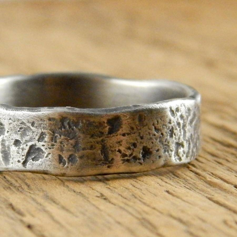 Rustic Viking Ring, Wedding Band, Recycled Sterling Silver Wedding With Viking Wedding Bands (View 15 of 15)