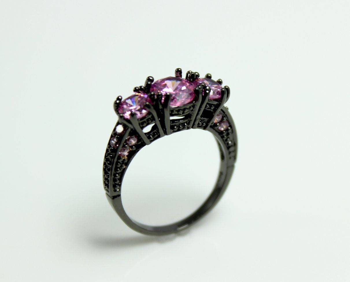 Sale Black Gold Ring Women Pink Sapphire Wedding Engagement Rings In Sapphire Wedding Rings For Women (View 6 of 15)