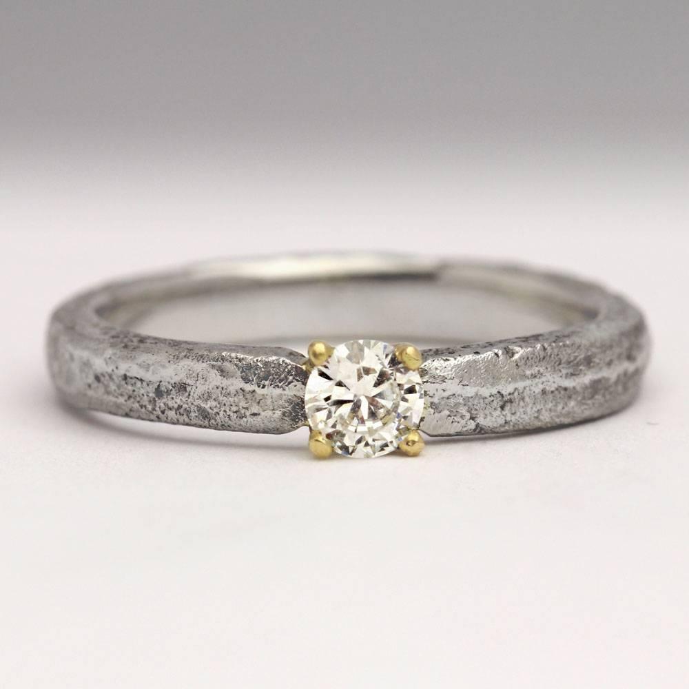 Sand Cast Palladium 4mm Diamond Ring – Contemporary Jewellery Regarding Hand Made Engagement Rings (View 10 of 15)