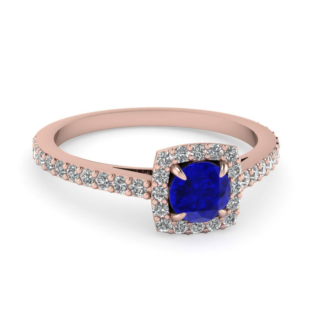 Sapphire And Square Halo Colored Diamond Engagement Ring In 14K Regarding Saffire Engagement Rings (View 9 of 15)