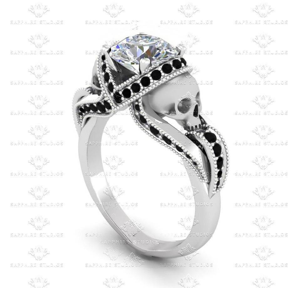 Sapphire Studios All White Diamond Skull Sterling Silver Ring Set Regarding Black Diamond Skull Engagement Rings (View 9 of 15)