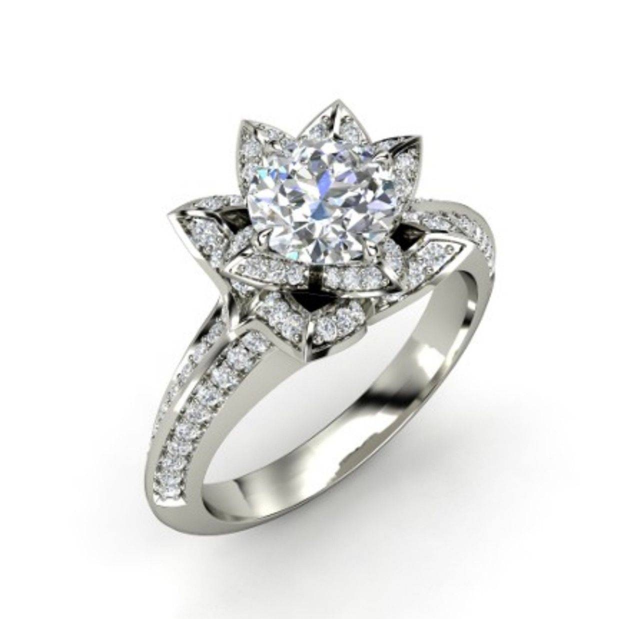 Sapphire Studios 'aspen' 2.10Ct Flower White, Yellow Or Rose With Regard To White Gold Engagement Rings (Gallery 4 of 15)