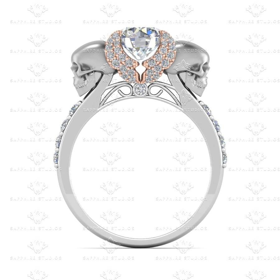 Sapphire Studios Natural Diamond White Gold Skull Engagement Ring Pertaining To Black Diamond Skull Engagement Rings (View 10 of 15)