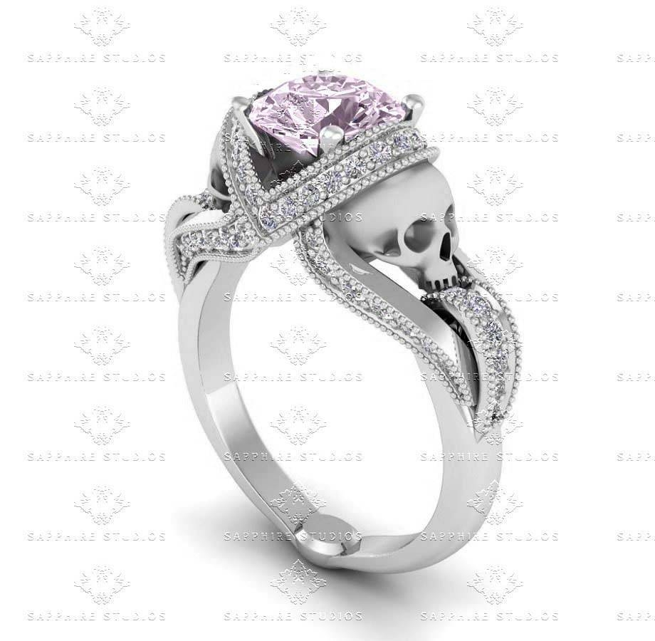 Sapphire Studios Natural Morganite White Gold Skull Engagement Ring With Regard To Black Diamond Skull Engagement Rings (View 11 of 15)
