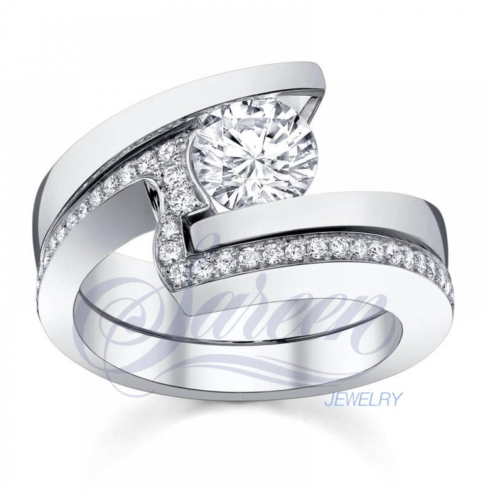 Sareen Tension Matching Set Ladies Diamond Ring Within Tension Set Engagement Rings With Wedding Bands (View 7 of 15)