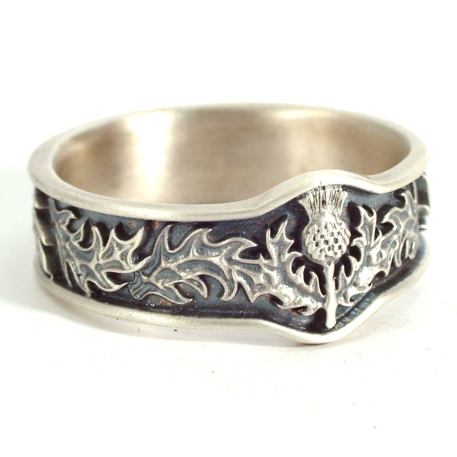Scottish Thistle Jewelry 925 Sterling Silver Thistle Ring Throughout Scottish Wedding Bands (View 7 of 15)