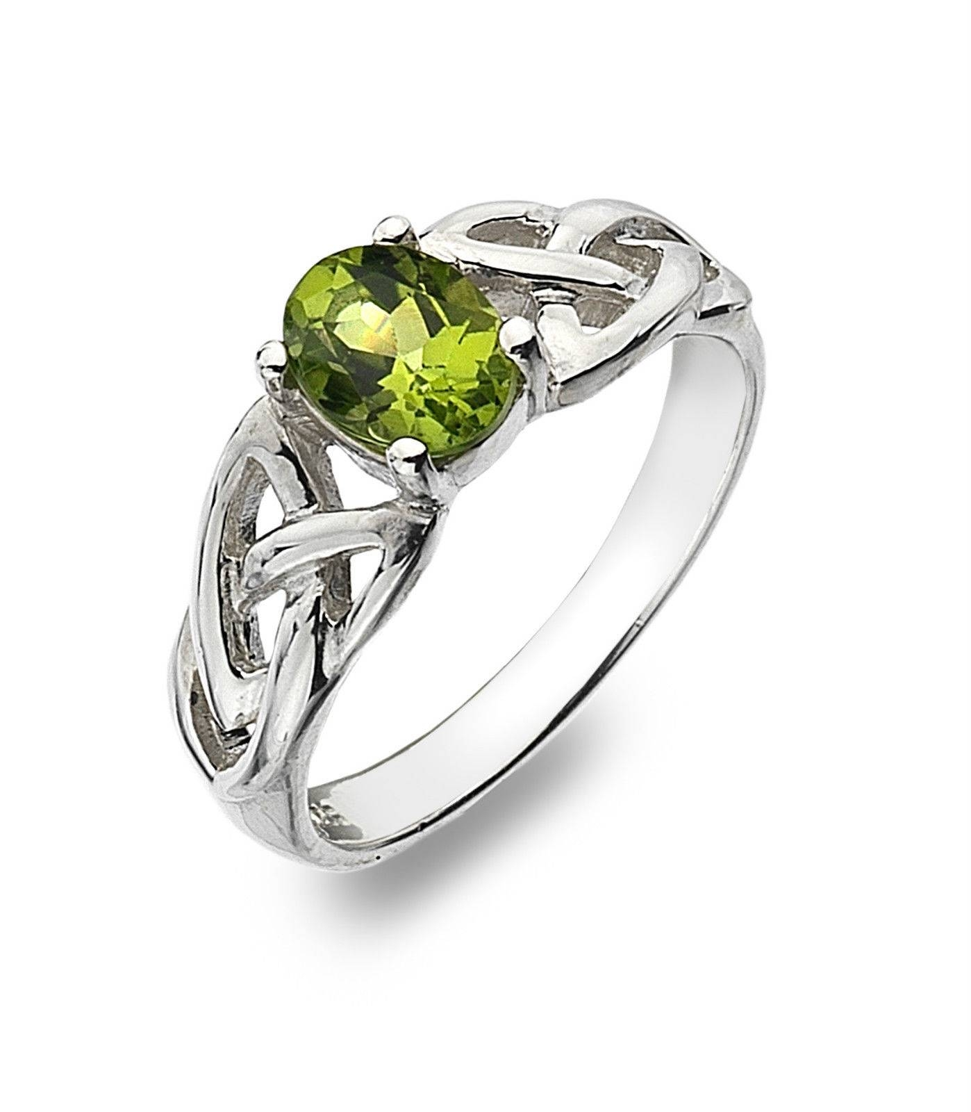 Sea Gems Sterling Silver Real Peridot Ring With Celtic Trinity Knots In Celtic Trinity Engagement Rings (View 15 of 15)