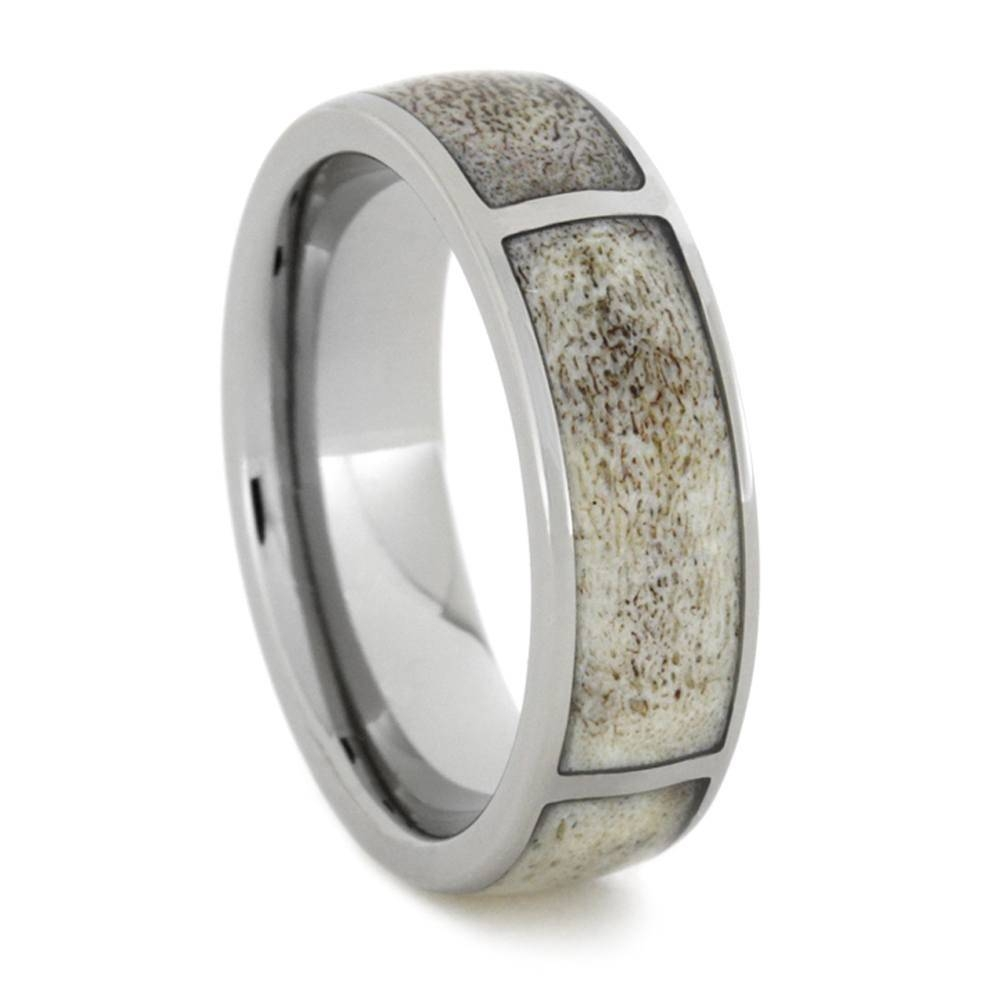 Sectioned Deer Antler Ring, Titanium Hunters Wedding Band For Outdoorsman Wedding Bands (View 14 of 15)