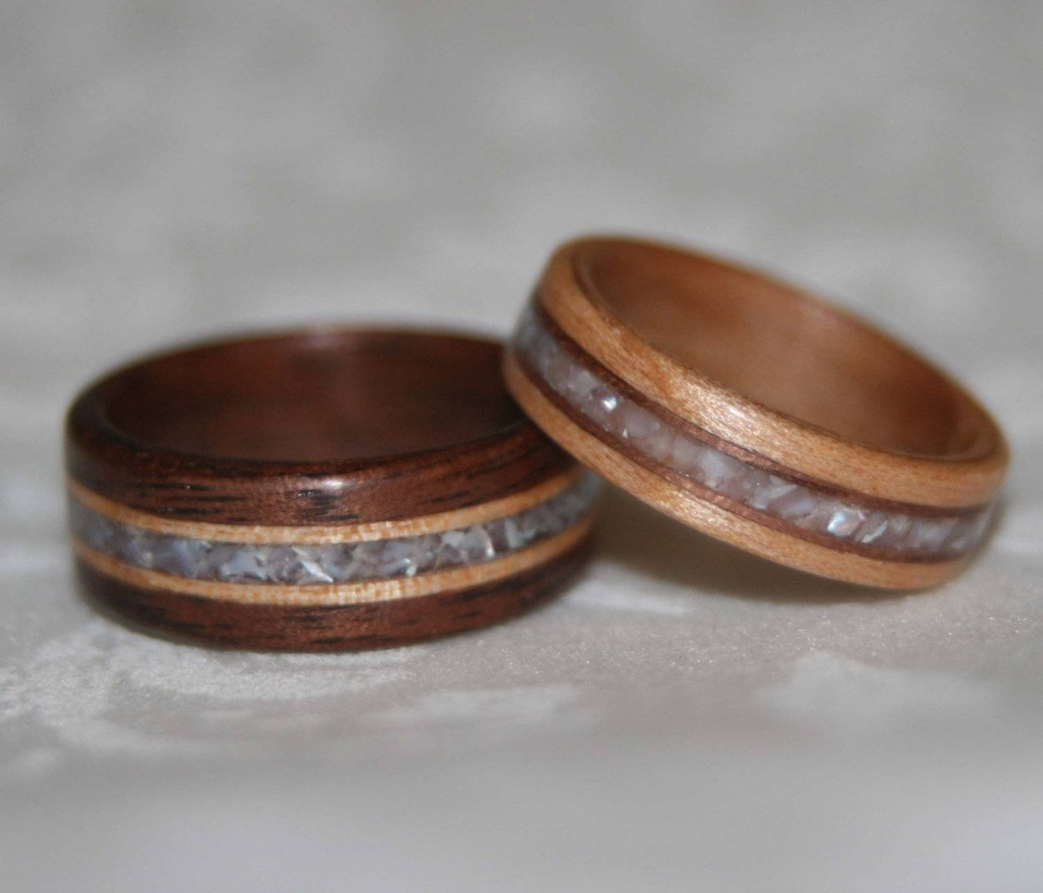 Set Of Custom Wooden Wedding Bands With Wood Accents And Stone Pertaining To Wood Grain Wedding Bands (View 10 of 15)