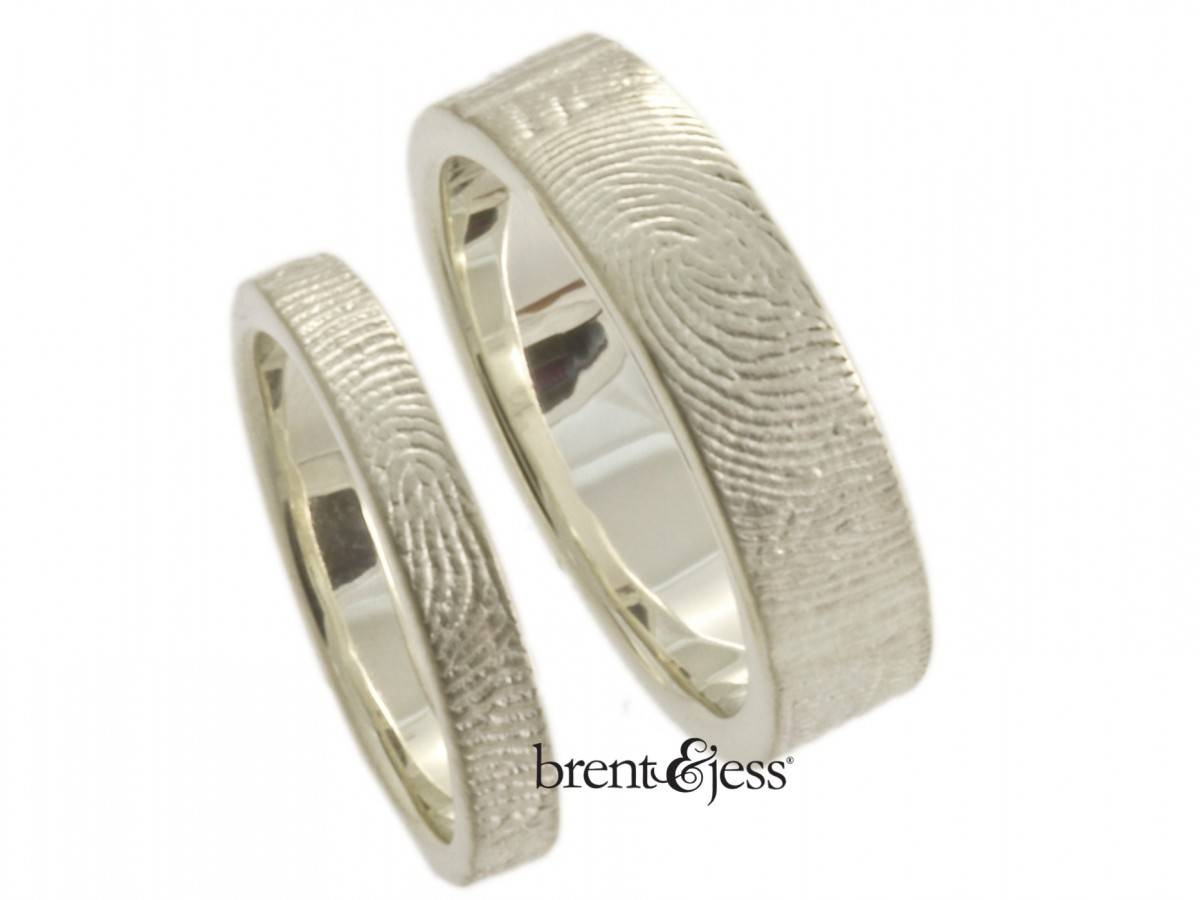 Set Of Personalized Sterling Silver Fingerprint Wedding Bands With With Regard To Wedding Rings With Fingerprint (View 12 of 15)
