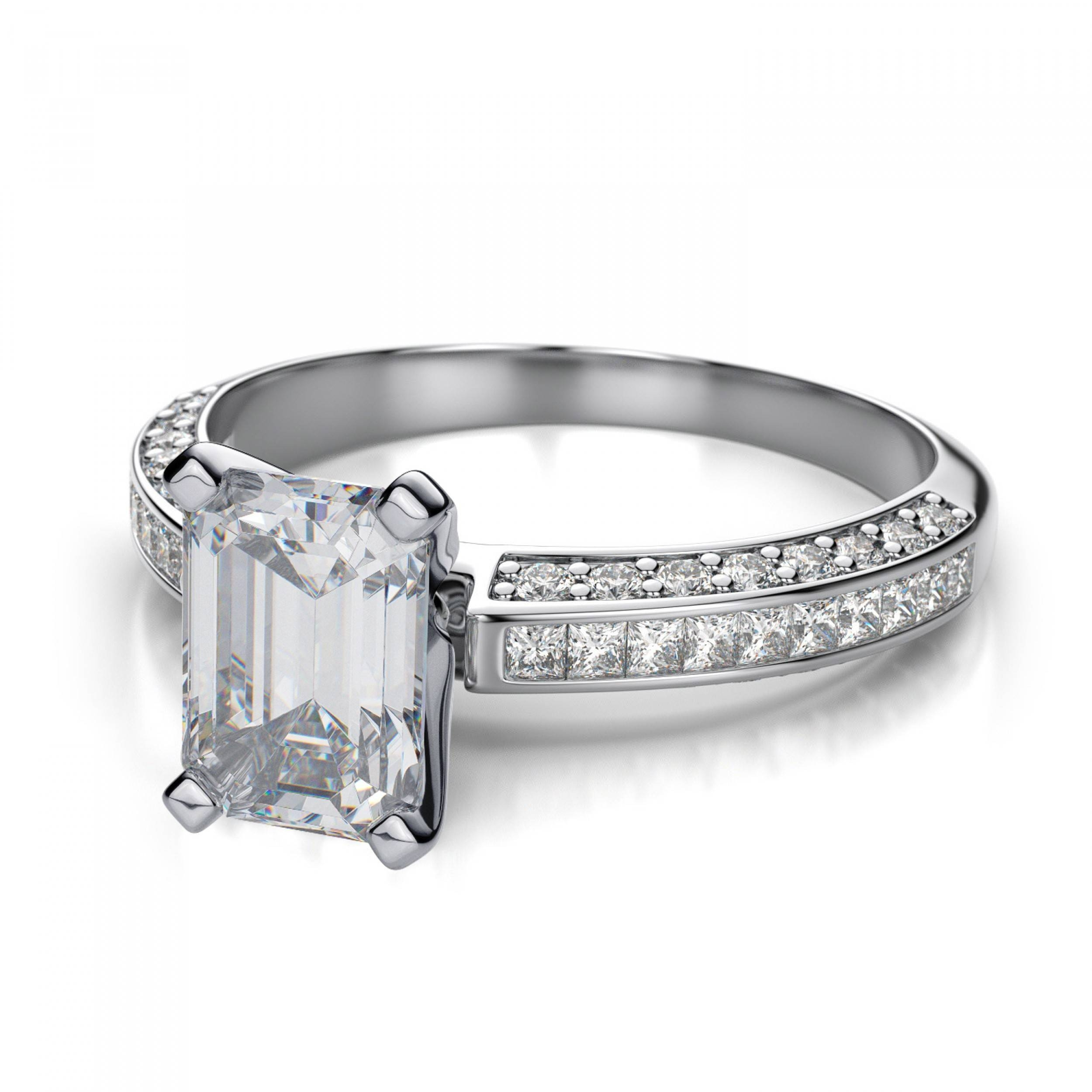 Set Princess Cut Sidestones And Emerald Cut Engagement Ring Mount Inside White Emerald Engagement Rings (View 7 of 15)