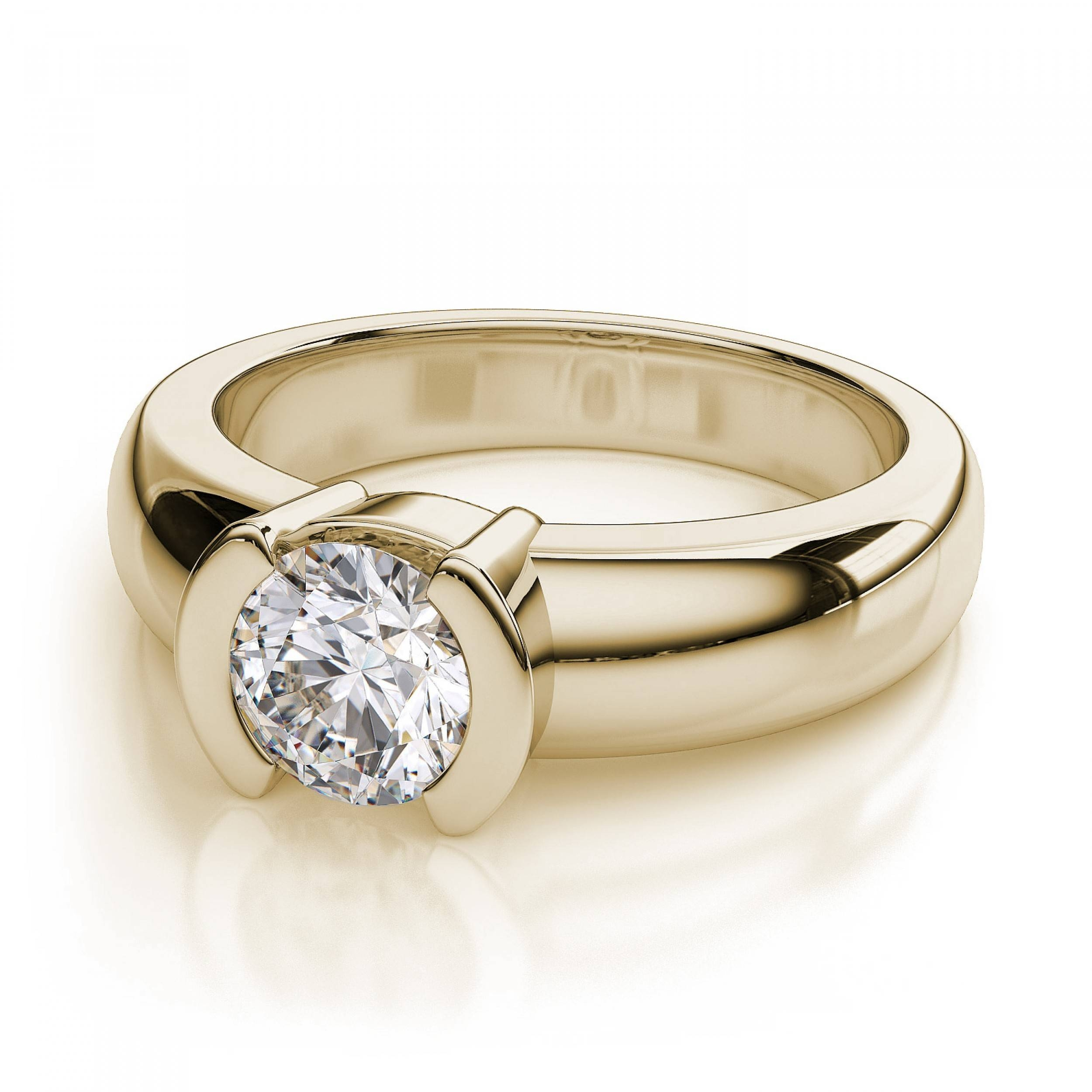 Set Solitaire Diamond Engagement Ring – 18K Yellow Gold Regarding Engagement Rings 18K Yellow Gold (View 11 of 15)