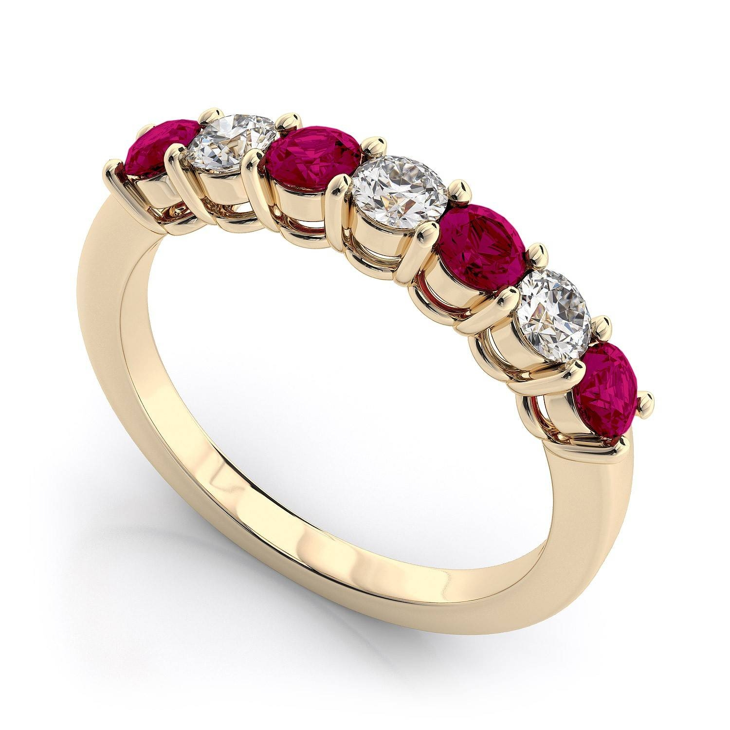 Seven Stone Diamond And Ruby Ring In 18K Yellow Gold Si H I Regarding Ruby Engagement Rings Yellow Gold (View 13 of 15)