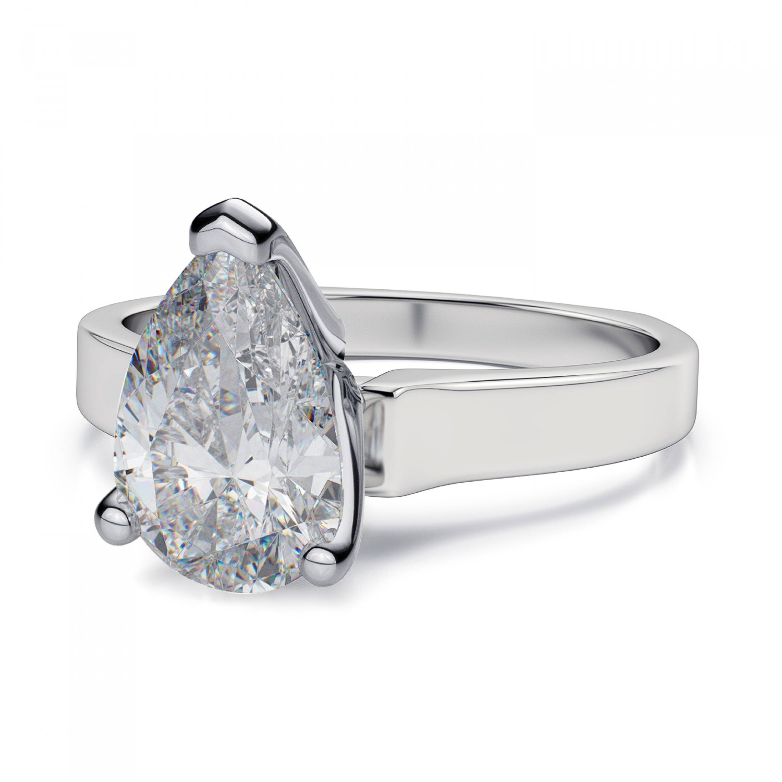 Shank Cathedral Pear Diamond Ring – Platinum Pertaining To Pear Bezel Engagement Rings (View 15 of 15)