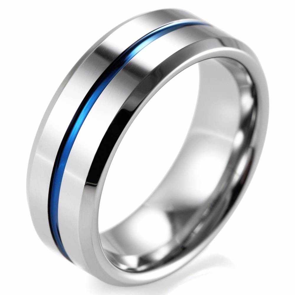 Shardon 8Mm Beveled Tungsten Carbide Wedding Band Ring High Inside Blue Line Wedding Bands (Gallery 6 of 15)