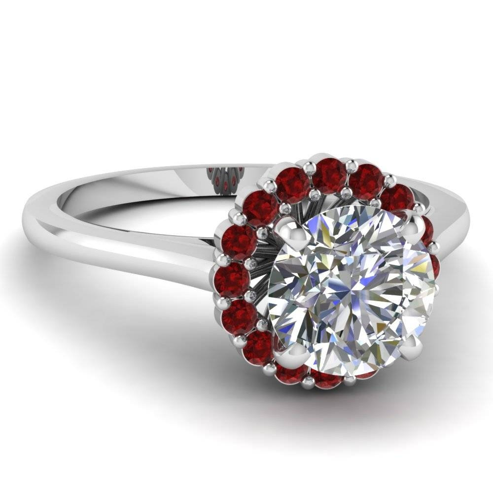 Shop Flower Engagement Rings Style – Fascinating Diamonds Pertaining To Ruby Diamond Wedding Rings (View 6 of 15)
