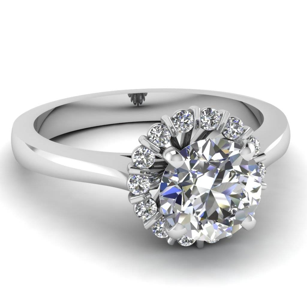 Shop Flower Engagement Rings Style – Fascinating Diamonds Within Trinity Diamond Engagement Rings (View 11 of 15)