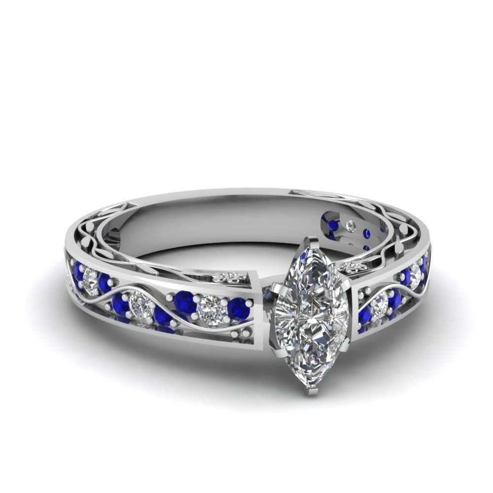 Shop For Marquise Cut Blue Sapphire Engagement Rings | Fascinating Regarding Diamond And Sapphire Wedding Rings (View 13 of 15)