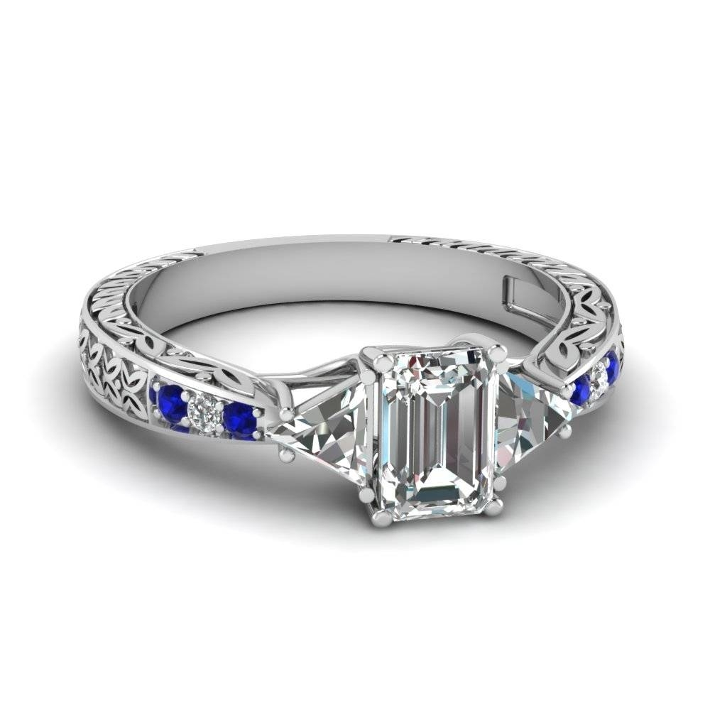 Shop For Stunning Blue Sapphire Vintage Engagement Rings Within Emerald Sapphire Engagement Rings (View 12 of 15)