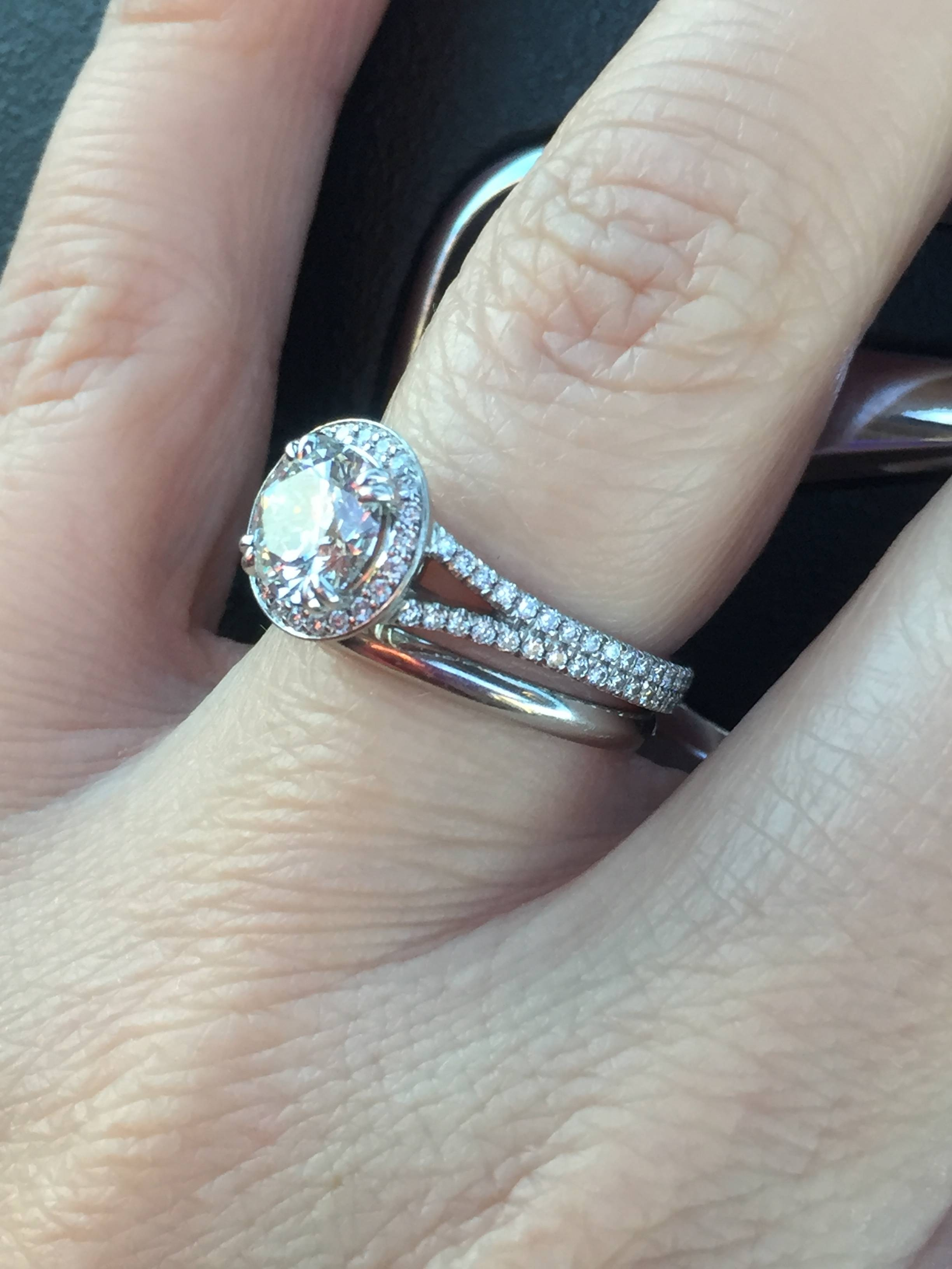 Show Me Your Plain Wedding Band With Your Engagement Ring In Wedding Bands That Go With Halo Rings (View 11 of 15)