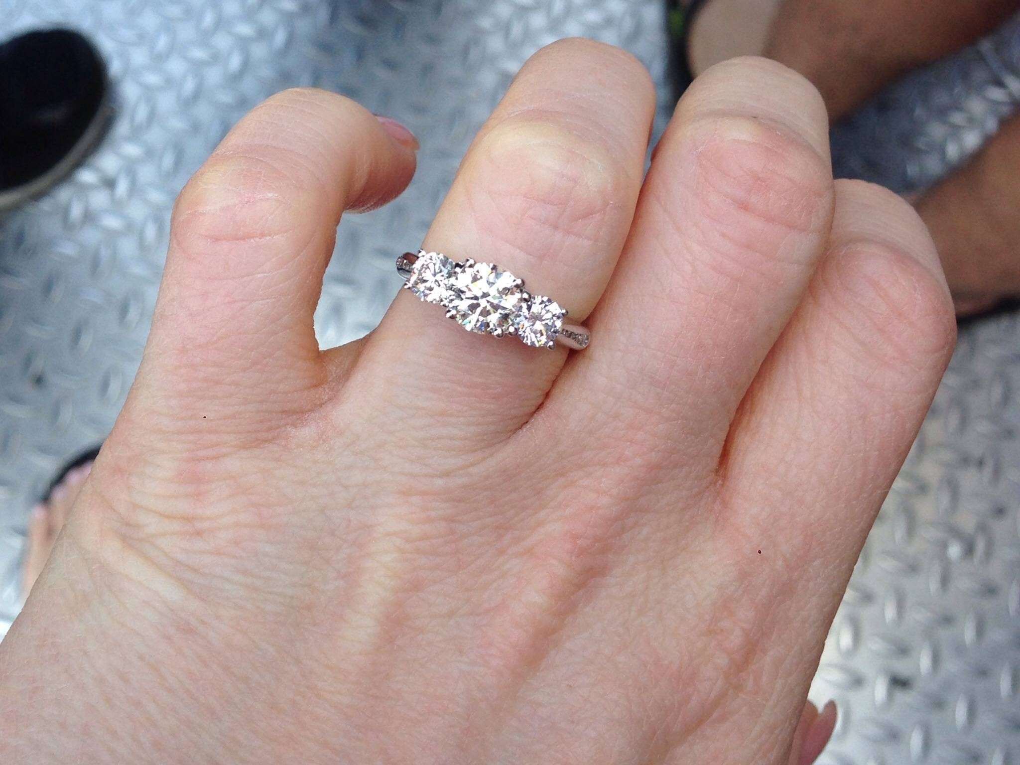 Show Off Time!! Show Me Your Three Stone Engagement Rings – Weddingbee With Regard To Three Stone Wedding Rings (View 11 of 15)
