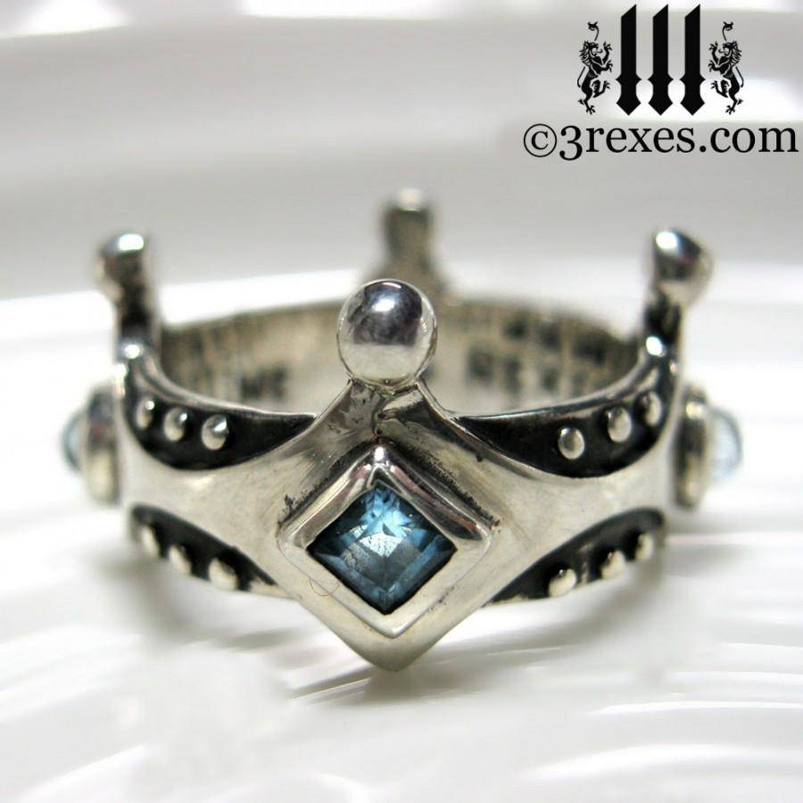 Silver Crown Engagement Ring Brandy Wine Gothic Medieval Band Blue With Regard To Medieval Engagement Rings (View 8 of 15)