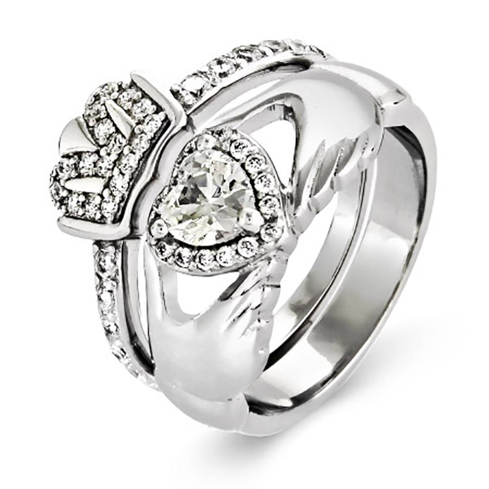 Silver Cz Claddagh Engagement Ring Set | Eve's Addiction® Throughout Engagement Claddagh Rings (View 12 of 15)