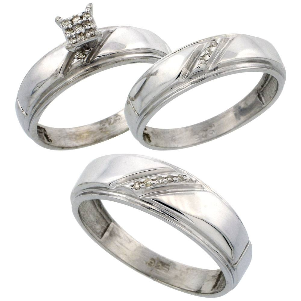 Silver Diamond Trio Engagement Wedding Ring Set For Him And Her 3 Pertaining To Silver Wedding Bands For Her (View 5 of 15)