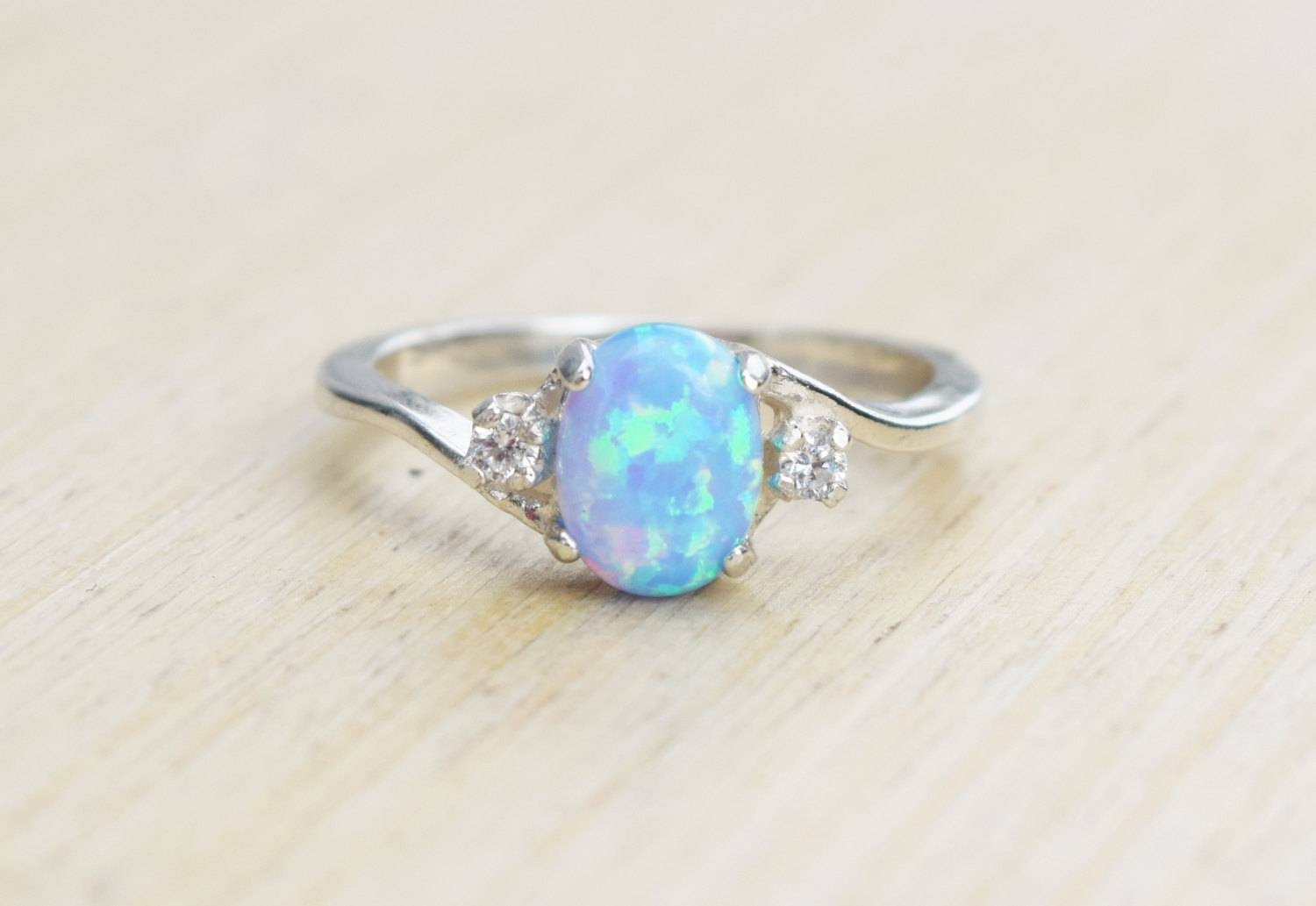 Silver Lab Opal Ring Blue Opal Ring Light Blue Opal Ring Pertaining To October Birthstone Engagement Rings (View 13 of 15)