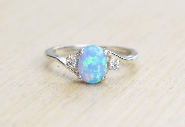 Silver Lab Opal Ring Blue Opal Ring Light Blue Opal Ring Regarding Opal Wedding Rings (View 12 of 15)