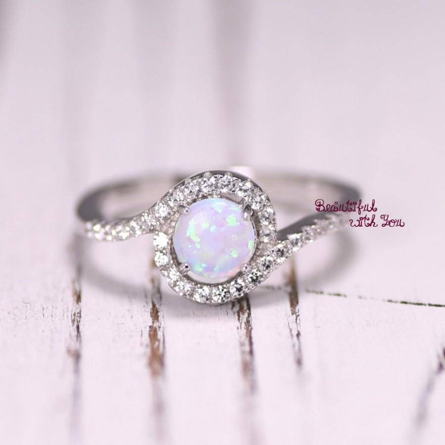 Silver Lab Opal Ring, White Opal Ring, Opal Wedding Band, Womens For Opal Wedding Rings (View 11 of 15)
