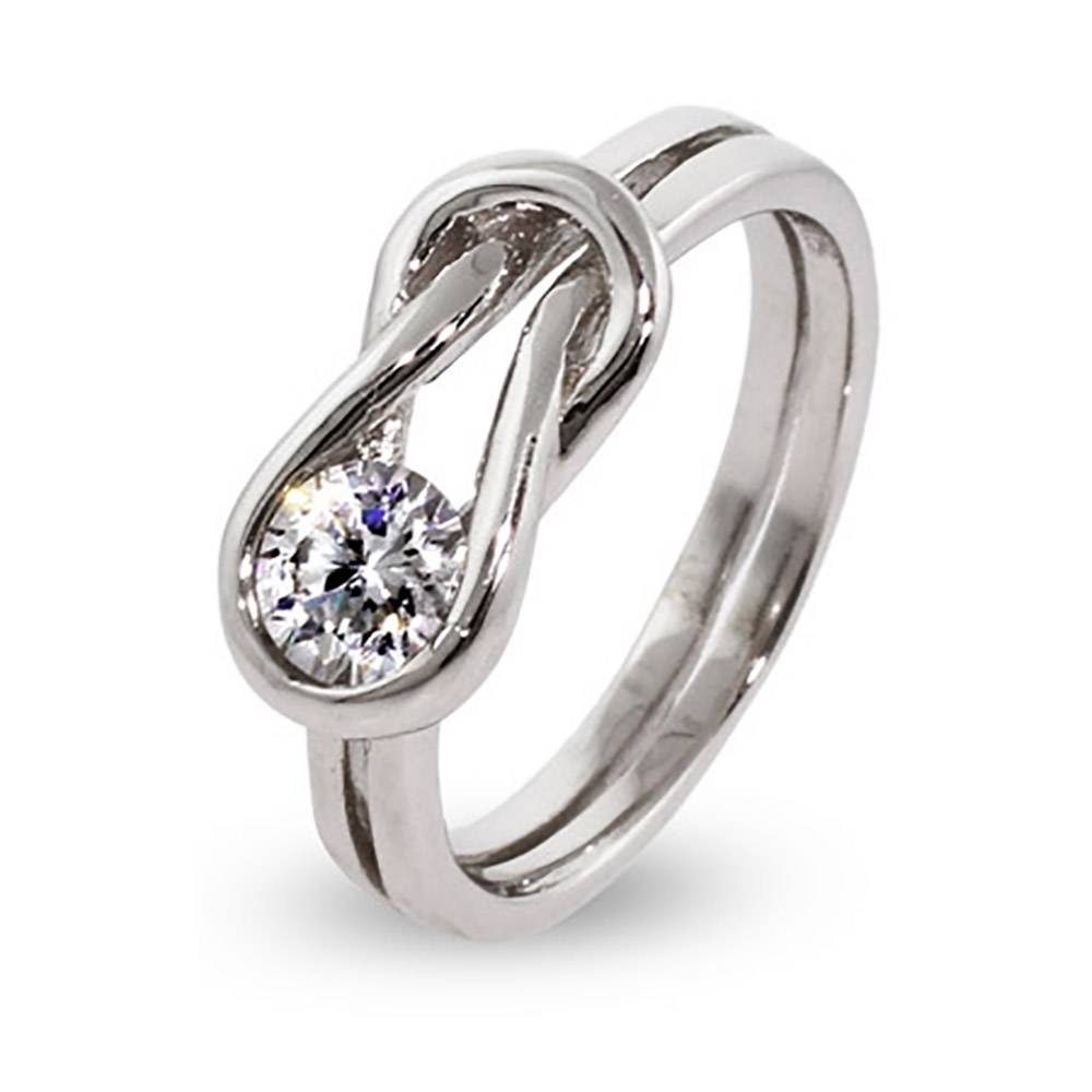 Silver Love Knot Ring | Eve's Addiction® Within Love Knot Engagement Rings (View 15 of 15)