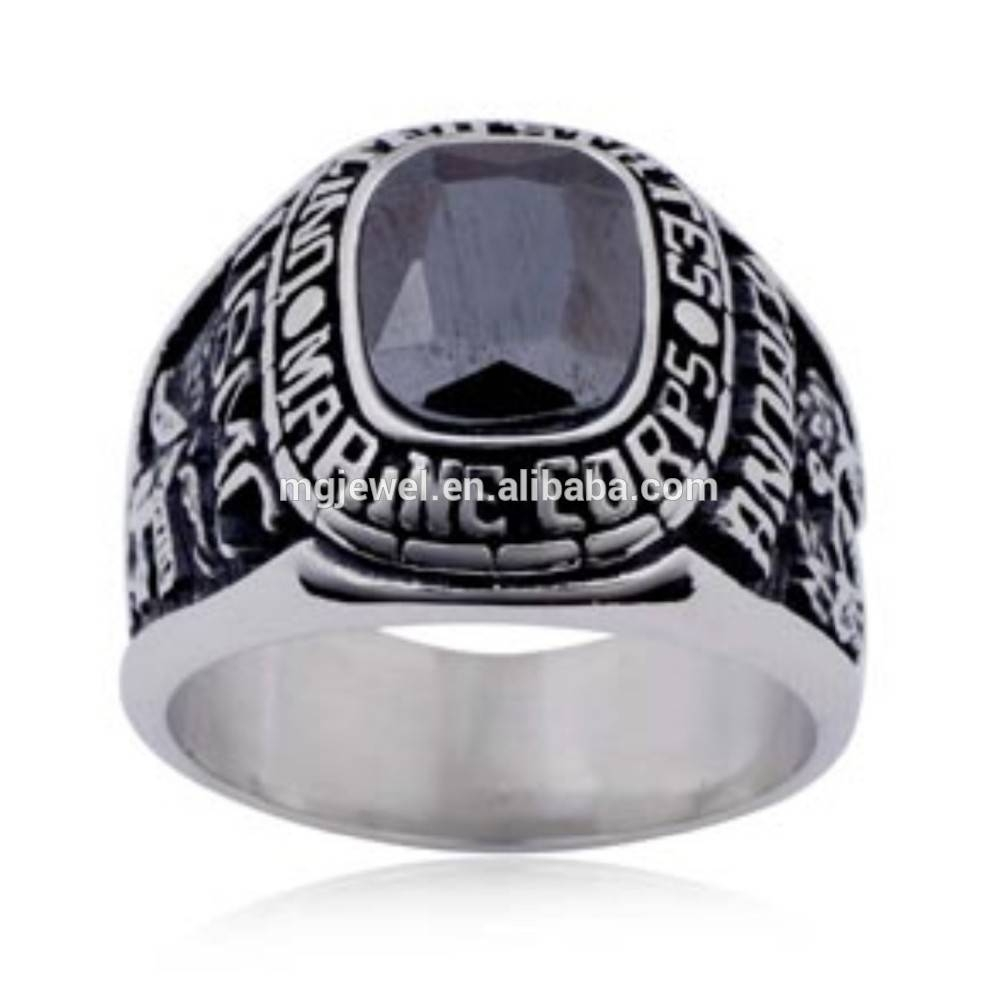 Silver Marine Corps Ring, Silver Marine Corps Ring Suppliers And Intended For Usmc Wedding Bands (View 10 of 15)