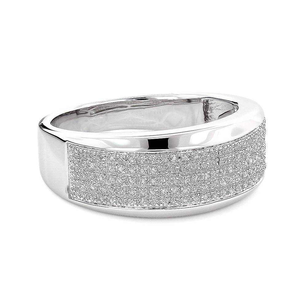 Silver Mens Diamond Wedding Band  (View 11 of 15)