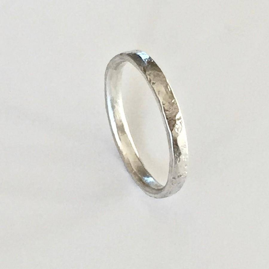 Silver Ring – Distressed Organic Texture – Recycled Sterling Throughout Men's Thin Wedding Bands (View 12 of 15)