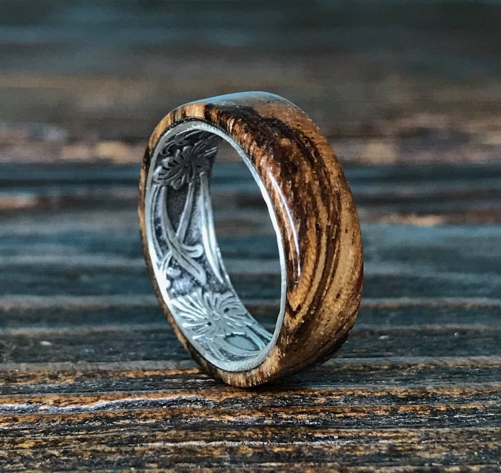 Silver Ring, Sterling Silver Ring, Wood Ring, Wooden Ring, Wedding Pertaining To Handmade Mens Wedding Rings (View 8 of 15)