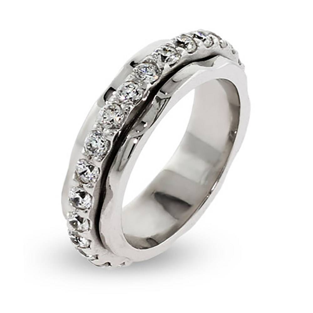 Silver Spinner Ring With Cz Band | Eve's Addiction® Within Men's Spinning Wedding Bands (View 15 of 15)