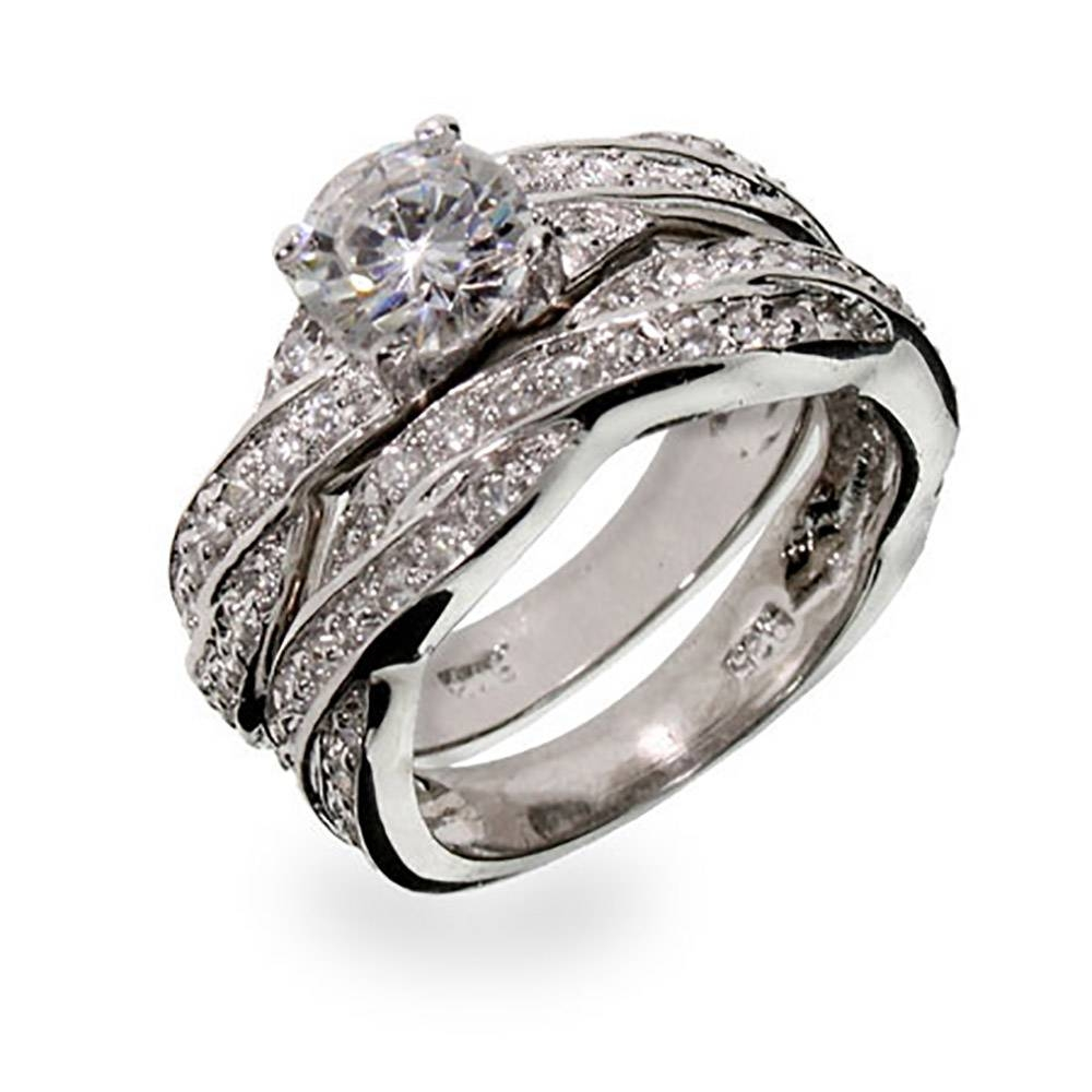 Silver Twisted Cz Wedding Ring Set | Eve's Addiction® Regarding Fake Diamond Wedding Bands (View 12 of 15)